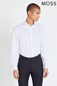 Moss London Skinny Fit White Double Cuff Stretch Shirt