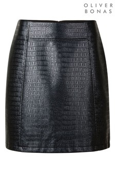 Oliver Bonas Black PU Mini Skirt