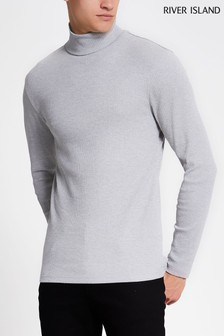 River Island Grey Rib Roll Neck Top
