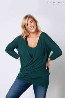 Live Unlimited Green Wrap Front Knitted Top