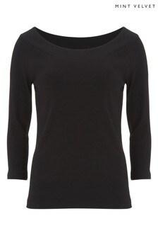 Mint Velvet Black Curved Bardot 3/4 Sleeve Top