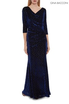 Gina Bacconi Garnet Velvet Wrap Maxi Dress
