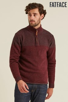 FatFace Purple Shelwick Textured Half Neck Jumper