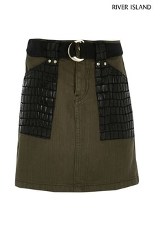 River Island Khaki Croc Pocket Skirt