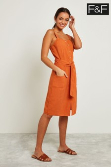 F&F Orange Madison Button Through Dress