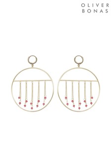 Oliver Bonas Chain & Stone Gold Plated Hoop Earrings