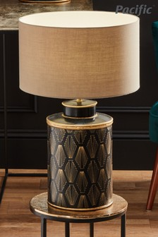 Chrysler Black Art Deco Hand Painted Table Lamp by Pacific Lighting