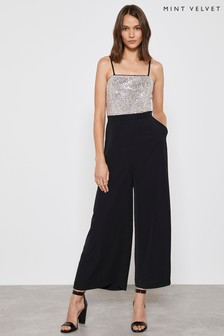 Mint Velvet Black Sequin Top Wide Leg Jumpsuit