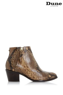 Dune London Animal Paramount Leather Block Heel Ankle Boots