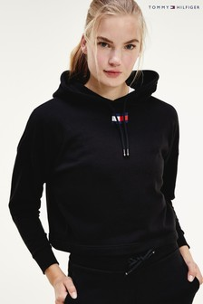 Tommy Hilfiger Black Cropped Flag Hoody