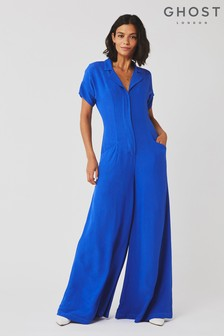 Ghost London Blue Roxie Satin Back Crepe Jumpsuit