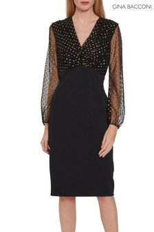 Gina Bacconi Black Idalia Spot And Crepe Dress