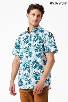 White Stuff Green Manza Print Shirt