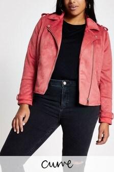 River Island Pink Medium Lola Quilted Suedette Biker Jacket