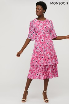 Monsoon Pink Daisy Printed Tiered Tea Dress