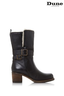 Dune London Rokoko Black Leather Faux Fur Lined Buckle Boots