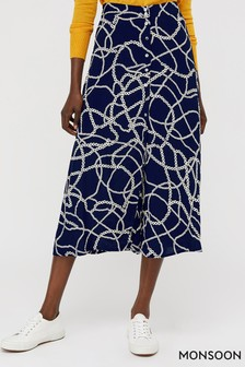 Monsoon Blue Daisy Chain Print Midi Skirt