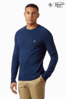 Original Penguin® Blue 7GG 100 Lambswool Jumper
