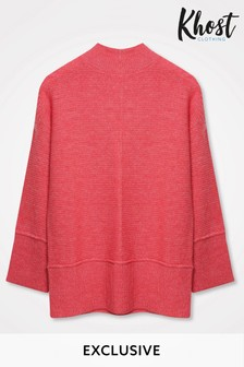 Khost Pink Rib Seam Detail Knit Jumper