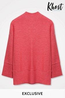 Khost Pink Rib Seam Detail Knit Jumper