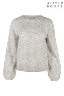 Oliver Bonas Whisper Pointelle Sleeve Grey Knitted Jumper
