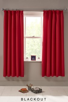 Plain Dye Blackout Pencil Pleat Curtains