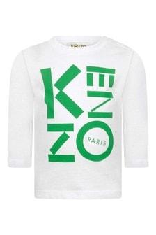 Boys White Cotton Long Sleeve Logo T-Shirt