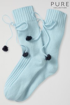 Pure Collection Blue Cashmere Lounge Socks