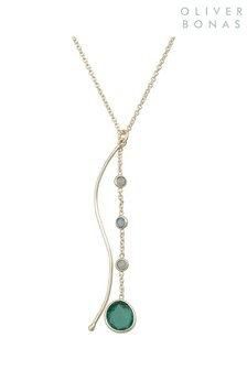 Oliver Bonas Green Everet Bar & Labradorite Pendant Necklace
