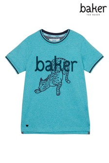 Baker by Ted Baker One Cat Logo T-Shirt, Blau