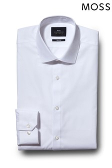 Moss London Skinny Fit White Single Cuff Easy Care Shirt