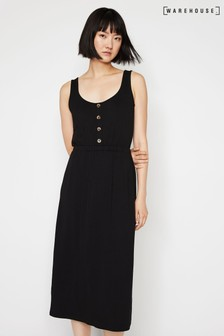 Warehouse Black Button Through Cami Midi Dress