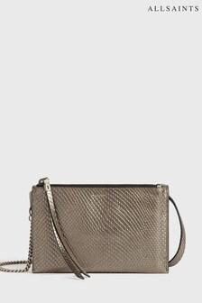 AllSaints Metallic Faux Snake Leather Fetch Cross Body Bag