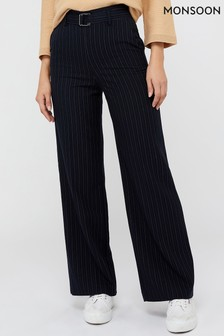Monsoon Blue Paige Pin Stripe Trousers