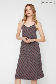 Warehouse Blue Kuta Stripe Tie Shoulder Dress