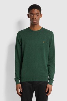 Farah Green Cotton Slim Sweater