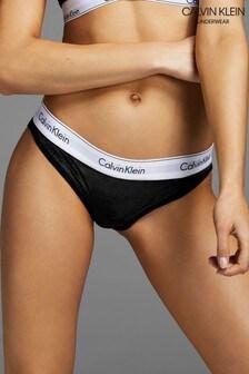 Calvin Klein Black Modern Cotton Velvet Bikini Underwear