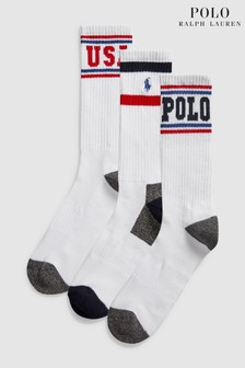 Polo Ralph Lauren White Polo Sport Socks Three Pack