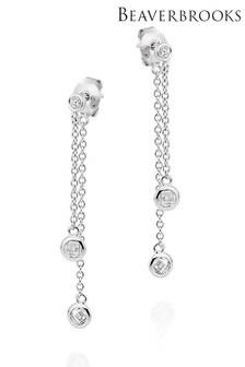 Beaverbrooks Sterling Silver Cubic Zirconia Drop Earrings