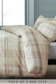 2 Pack Natural Check Bed Set