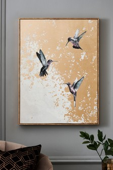 Hummingbirds Foil Canvas
