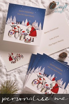 20 Pack Personalised Santa Present Christmas Card by Croft Designs