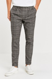 Check Pleated Slim Tapered Fit Trousers