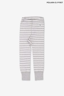 Polarn O. Pyret Grey GOTS Organic Striped Leggings