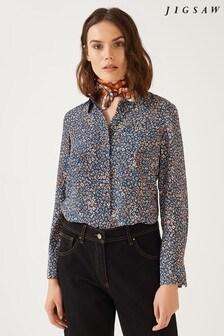 Jigsaw Blue Leopard Silk Shirt