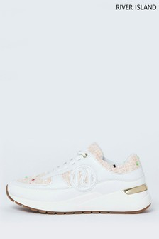 River Island Cream Chunky Branded Lace-Up Shoes