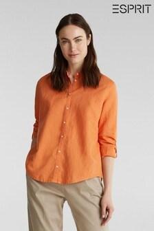 Esprit Orange Long Sleeve Linen/Cotton Mix Shirt