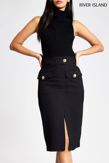 River Island Black Utility Button Pencil Skirt