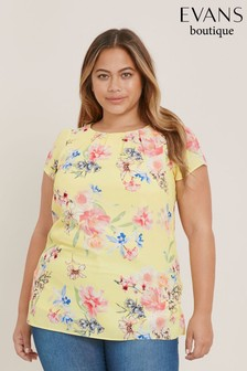 Evans Yellow Floral Shell Top