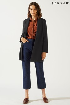 Jigsaw Black Compact Wool Double Breasted Coat